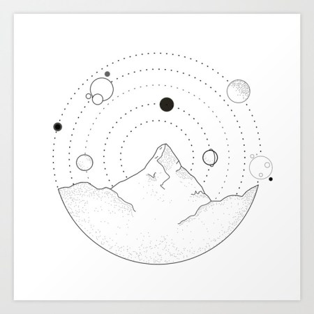 mountains and planets print