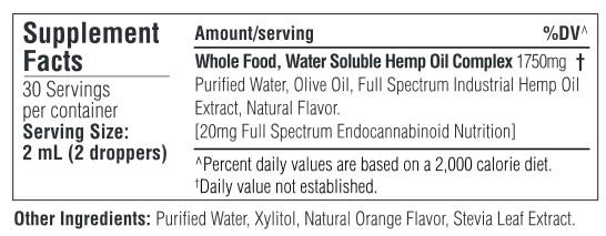 Vrelief label of ingredients