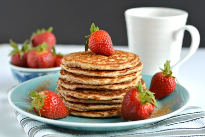 Cottage Cheese Pancakes made with four healthy ingredients and crazy delicious. They're low calorie, gluten free and super simple to make. These protein pancakes are soon to be your new everyday breakfast favorite!