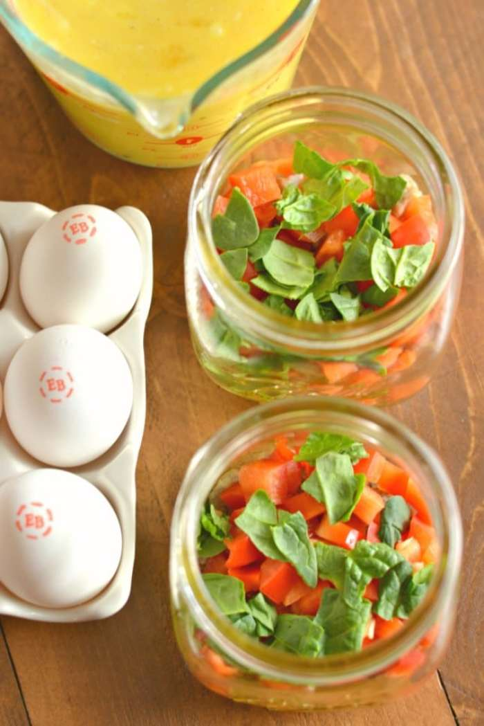 Mason Jar Eggs are the perfect on-the-go protein packed breakfast! These make ahead eggs are super easy, store fresh in the fridge for days and are completely customizable to your taste buds!