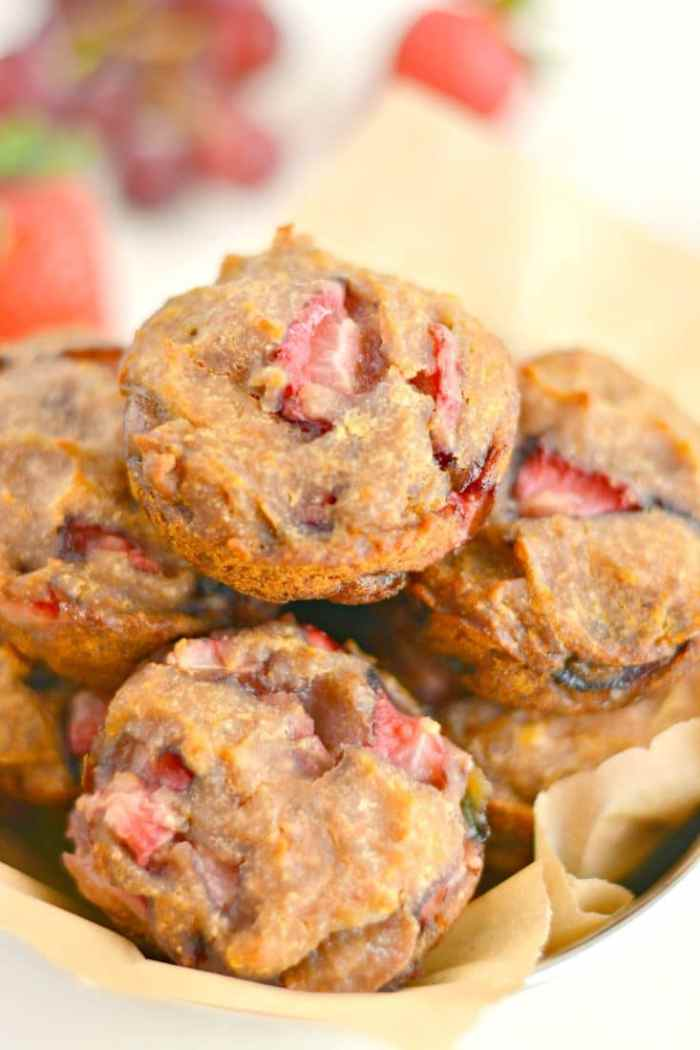 These Strawberry Grape Muffins are moist and naturally sweet. A sugar free snack that's Vegan, Gluten Free and has just 115 calories!