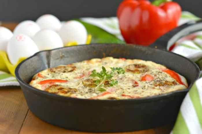 Red Pepper Zucchini Frittata is a low-carb, high protein, savory blend of veggies. A great way to sneak more veggies into your diet and start your day! Paleo, gluten free and low calorie.