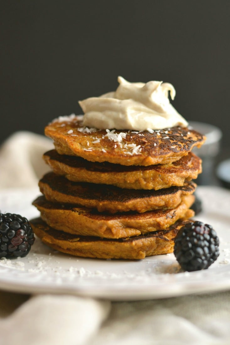 Coconut Sweet Potato Pancakes naturally sugar free sweetened with spices. A low carb, high protein breakfast made in the blender that's nutritious & delicious! Paleo + Gluten Free + Low Calorie