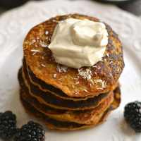 Coconut Sweet Potato Pancakes With Nut Butter Yogurt {GF, Paleo, Low Cal}