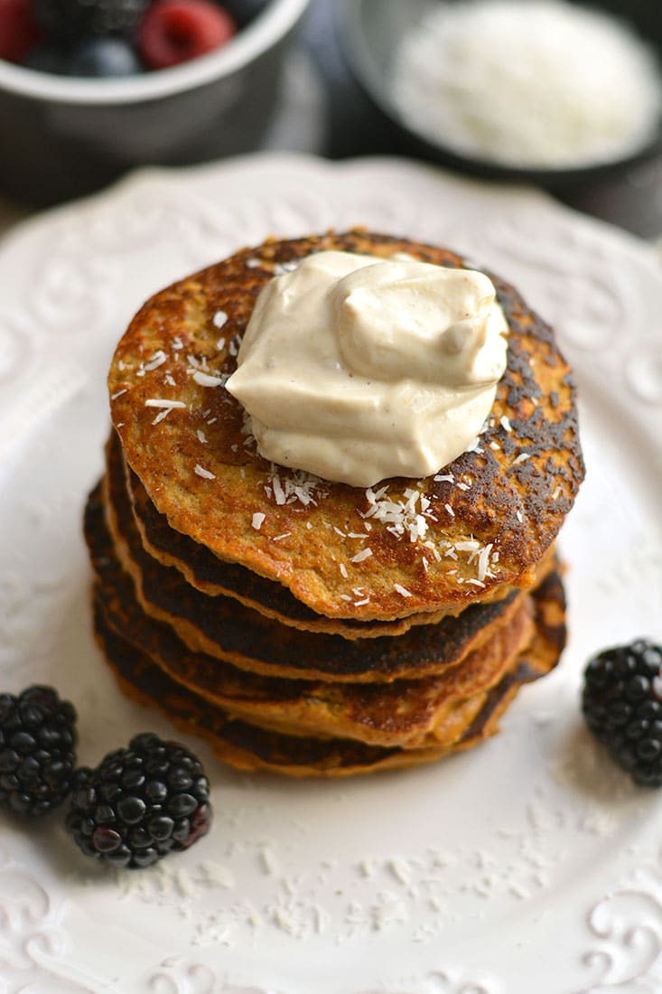 Coconut Sweet Potato Pancakes naturally sweetened with spices. A low carb, high protein breakfast made in the blender that's nutritious & delicious! Paleo + Gluten Free + Low Calorie