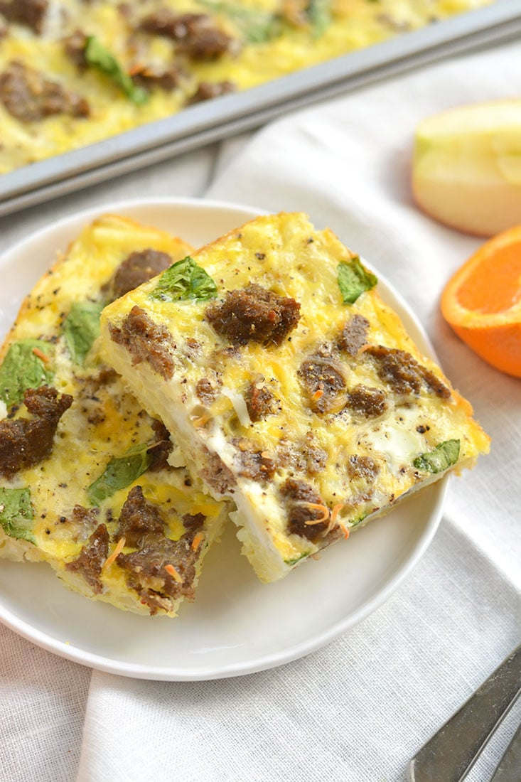 Sheet Pan Breakfast Pizza! Your favorite breakfast pizza turned healthy. Layered with healthy ingredients, this breakfast pizza has big flavor for less calories. Baked on a sheet pan for easy cleanup! Gluten Free + Low Calorie