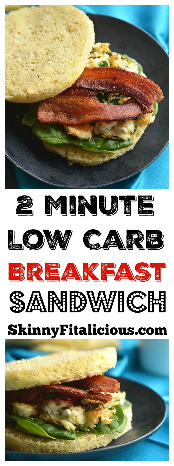 Low Carb Breakfast Sandwich made in under 2minutes in the microwave. Make them ahead of time & freeze, or make them morning, noon or night for a healthy, Paleo, fluffy like a cloud bread. Paleo + Gluten Free