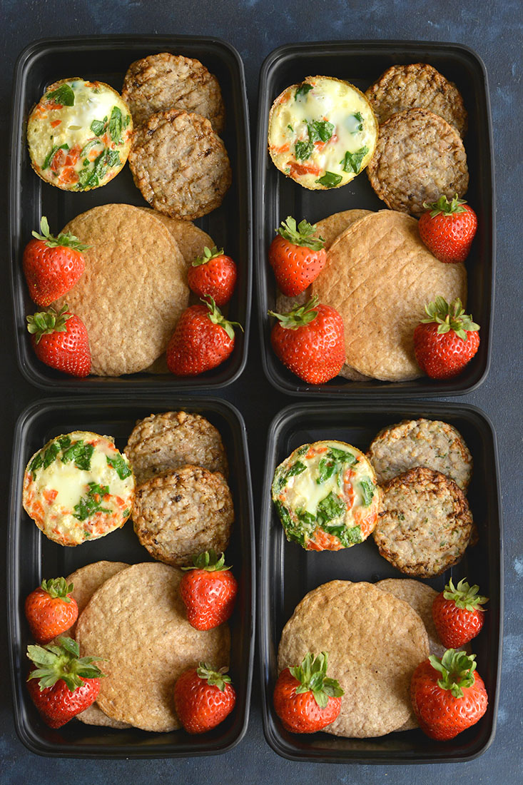 Meal Prep Cauliflower Egg Muffins! Made with cauliflower rice, these eggs have 6 grams of protein & less than 1 gram of carbs. An easy make ahead breakfast! Paleo + Gluten Free + Low Calorie.