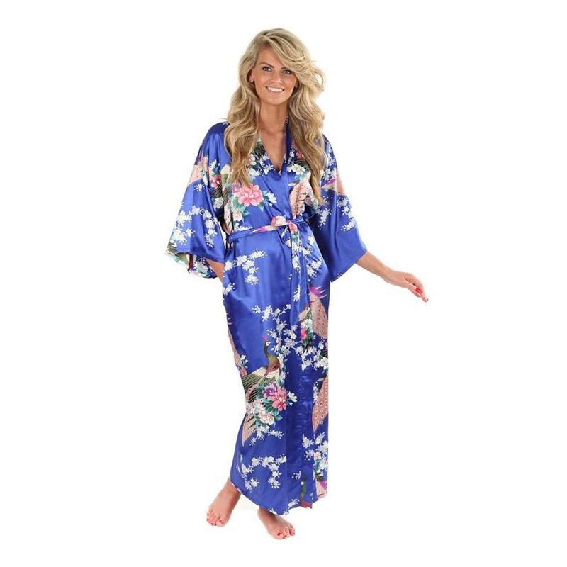 Long Floral Kimono Bathrobes - \