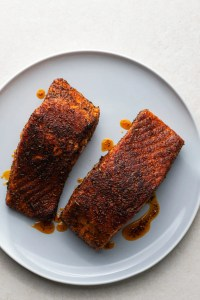 This delicious, perfectly-seasoned salmon will go great with a side of mashed potatoes and veggies!