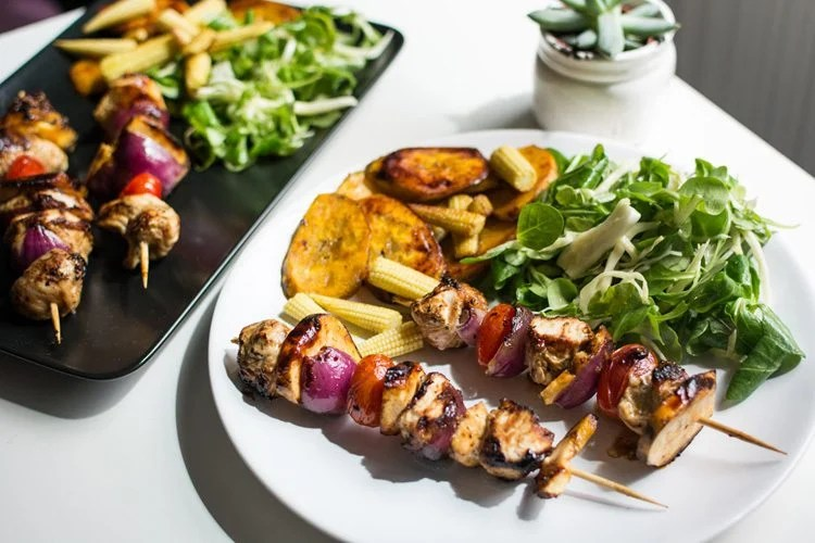 Jerked Chicken and Plantain Skewers