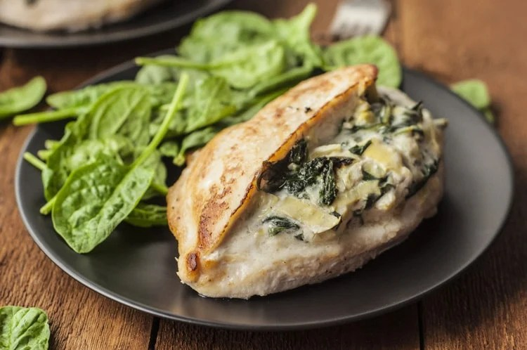 add variety to your chicken diet with this Best Ever Spinach and Artichoke Stuffed Chicken