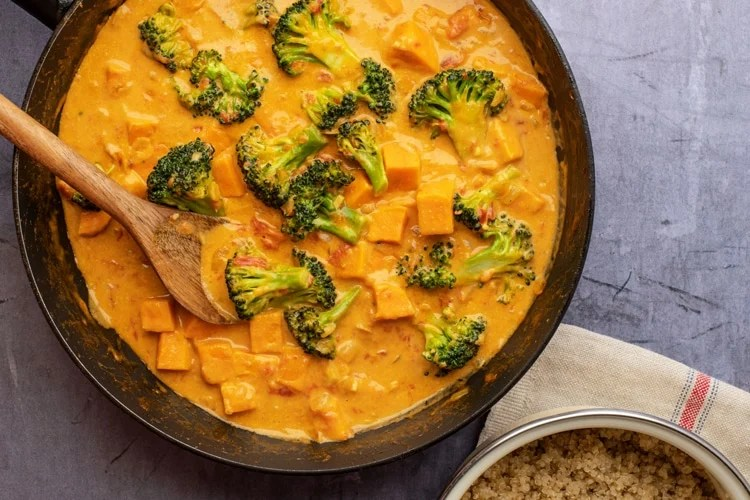 Try this quick, easy, and satisfying vegan coconut curry!
