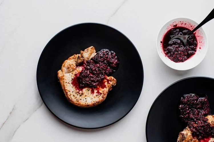 The combination of the flavors of blackberries and ginger goes perfectly with the tender pork chops.
