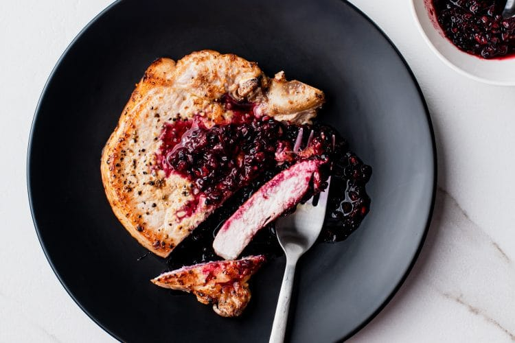 Blackberry and ginger pork chops