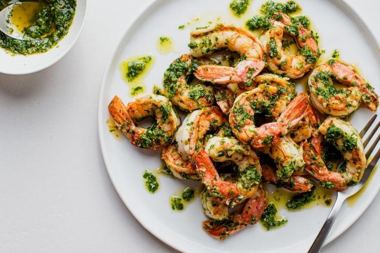 Fast and tasty chimichurri shrimp