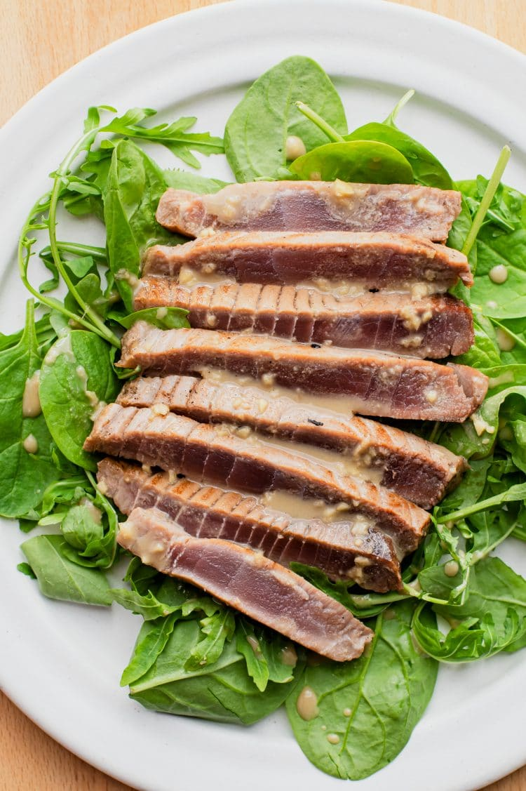 Yellowfin tuna is an excellent option for this seared tuna recipe.