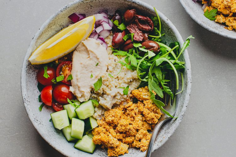 This high-protein Mediterranean quinoa bowl with flavored tofu will keep you full and focused for hours.