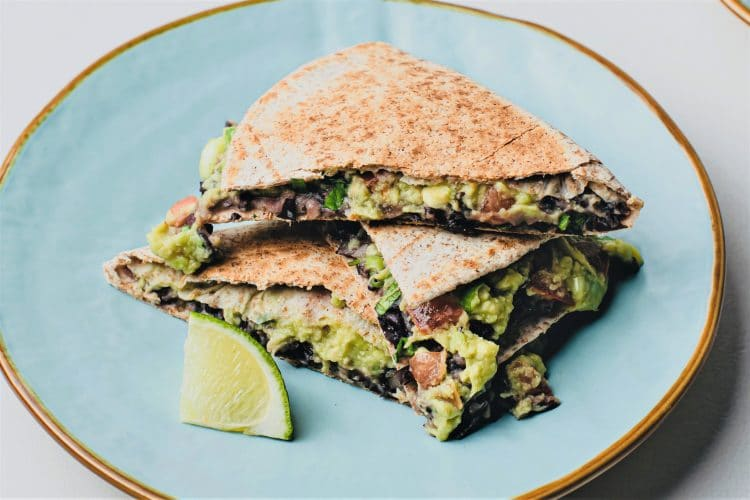Plant-based bean and avocado quesadillas