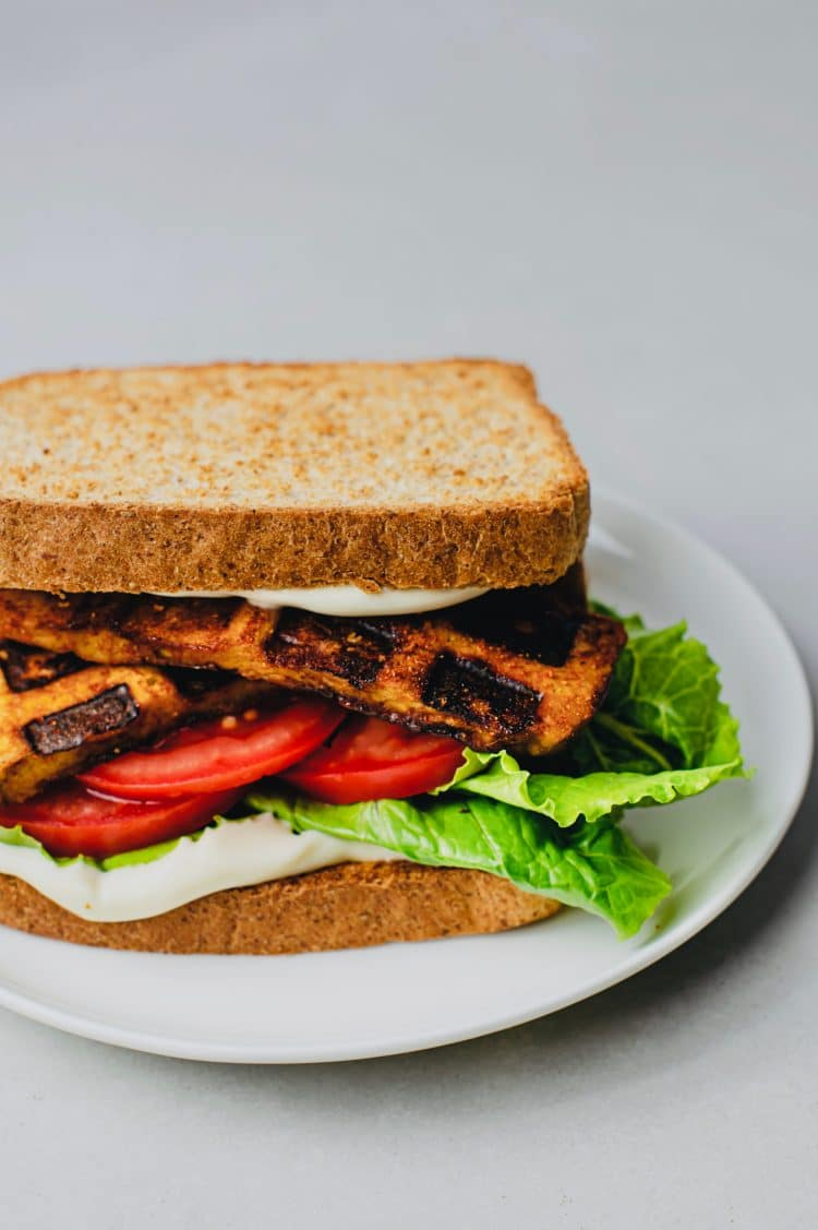 Now our plant-based eaters can enjoy the classic flavors of a BLT with our vegan BLT sandwich with waffle iron tofu bacon
