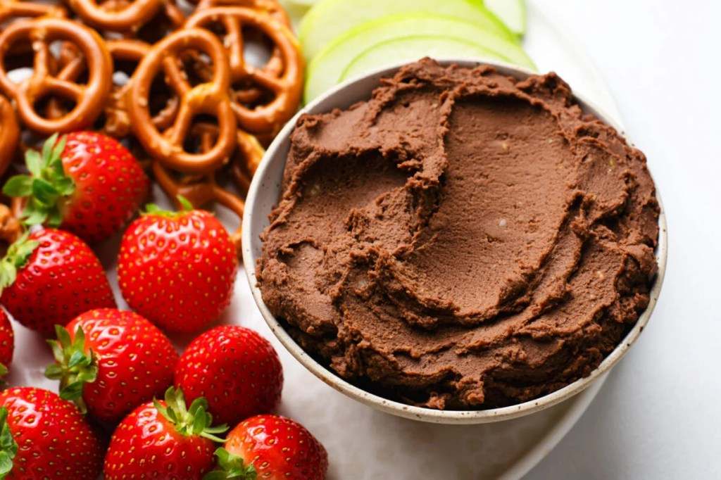 Satisfy your chocolate cravings with our delicious chocolate hummus fruit dip!