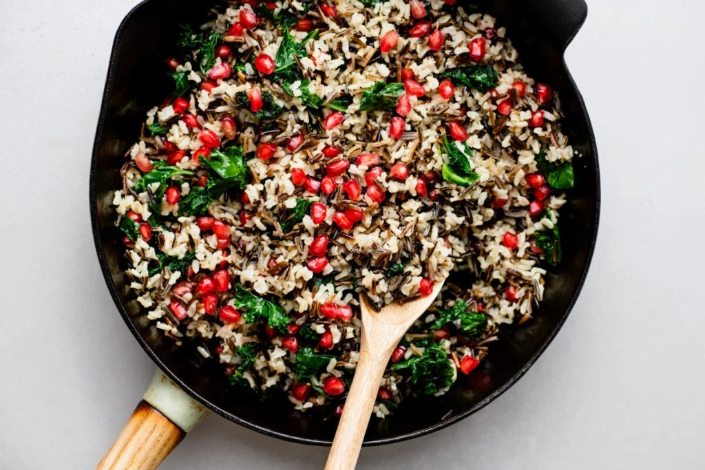 Browse through this nutritious and delicious side dish made from pomegranate and kale wild rice!