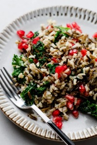 Enjoy this delicious pomegranate and kale wild rice in just over 30 minutes!