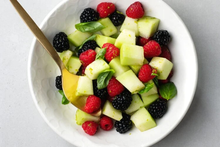 This delicious fresh lime and basil fruit salad is so easy to make!