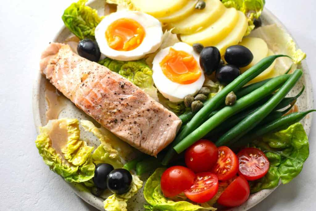 Our Nicoise Salad with Poached Salmon is so pretty and even tastier!