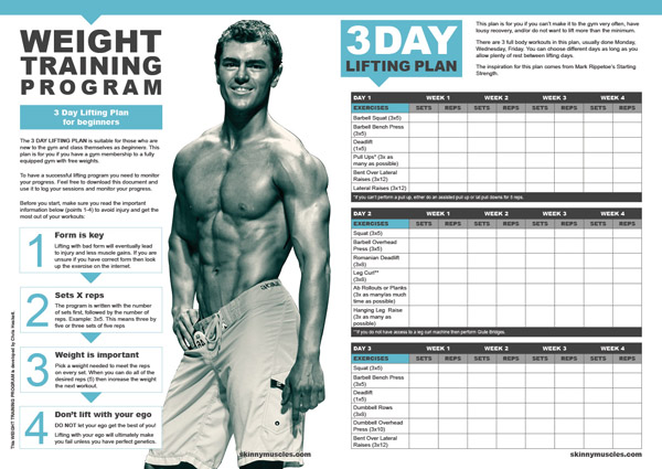 Weight Training Program 3 Day Lifting Plan For Beginners