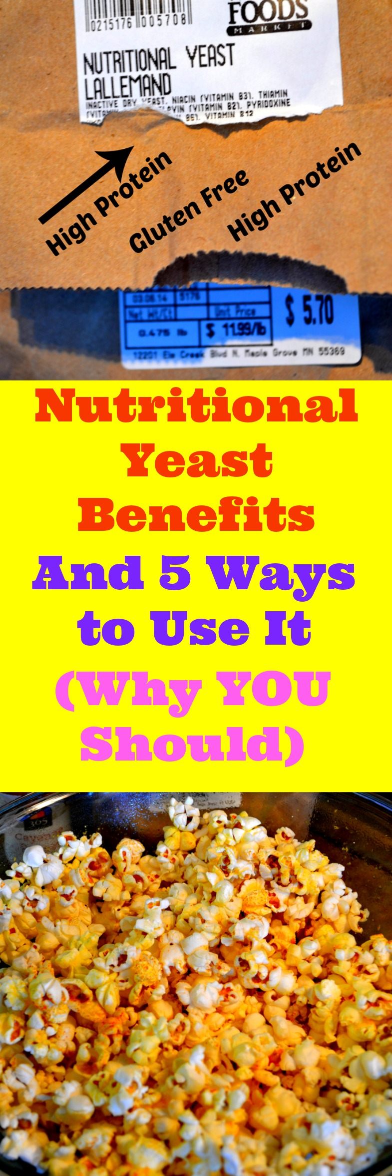 You must learn aboutNutritional Yeast Benefits and what it can do for your health. Nutritional Yeast can replace Parmesan cheese in a pinch and tastes very similar.Surprisingly high in protein with unexpected flavors. Certified Gluten-Free and now sold in most markets. Tastes great on popcorn, pizza, cauliflower, added into soup, is Vegan and vertually calorie free, making it great for weight loss.