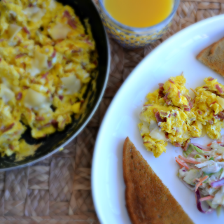 Leftover Corn Beef Egg Scramble