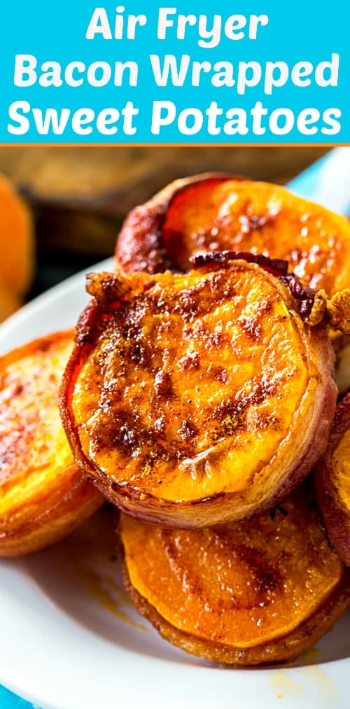Air Fryer Bacon Wrapped Sweet Potato Rounds #lowcarb #paleo #keto #airfryer