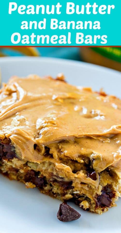 Peanut Butter and Banana Oatmeal Bars make a healthy on the go breakfast.