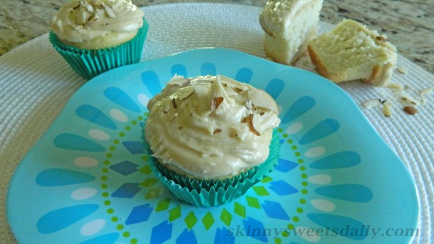 Skinny Almond Cupcakes With Creamy Caramel Frosting