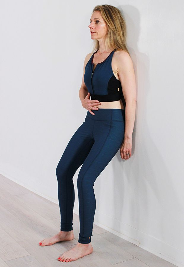 Diastasis Recti Core Exercises: Wall Sit with Core Compressions