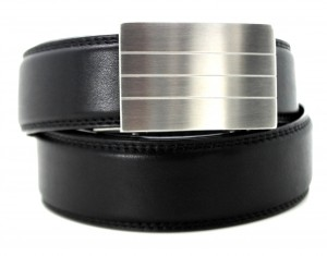 Evolve stainless steel buckle, black leather