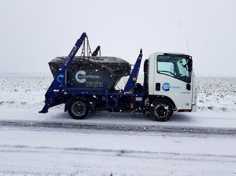 Skip delivery in snow
