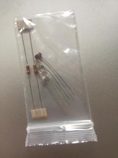 Small bag of supplied bits: 2 x 21 ohms resistors 1 x LDR 1 x LED