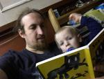 Miniboygeek and I reading Scatty Catty Where is Your Milk?