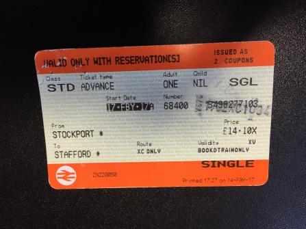 Get an old ticket (This one is Stockport to Stafford on the 19:35 dpt)