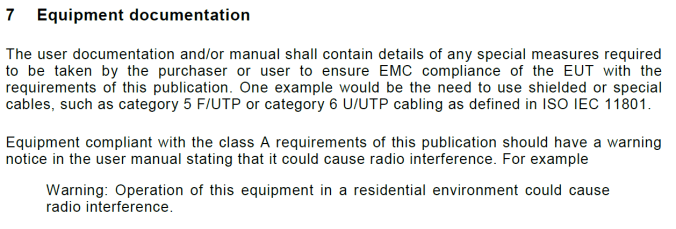 "BS EN 55032:2015 ""Electromagnetic compatibility of multimedia equipment. Emission Requirements"" Section 7"