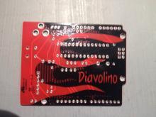Diavolino Bottom Side - Note the non straite PCB track Layout