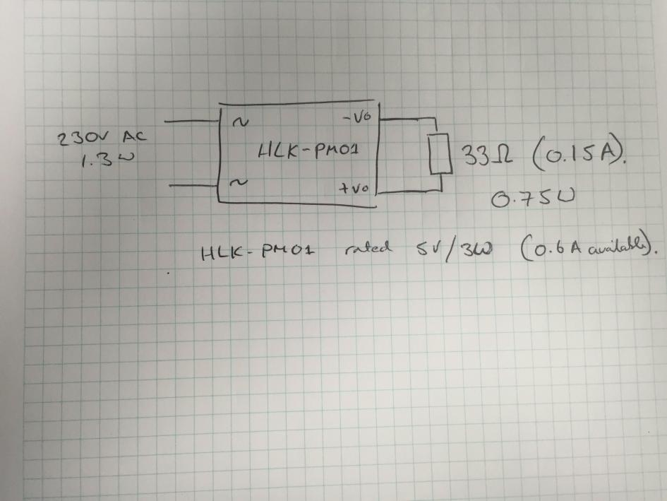 HLK-PM01 loaded with a 33Ω resistor as per original test