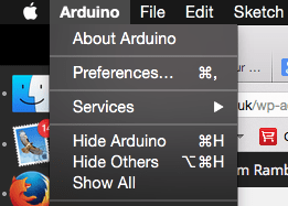 Arduino Menu Mac