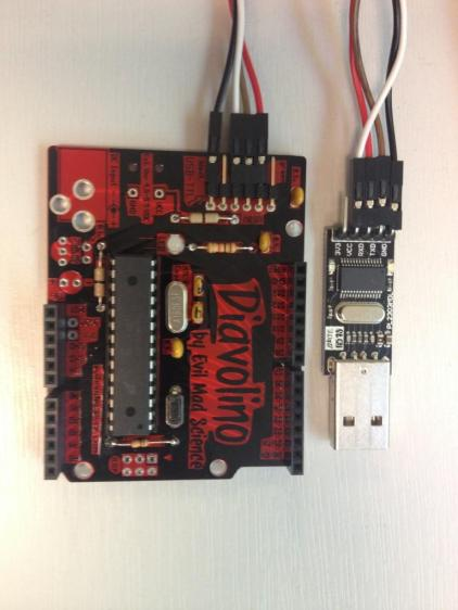 Diavolino connected to my cheap FTDI (Future Technology Devices International) RS232 Programming Jobbie