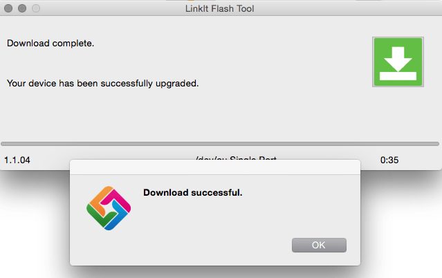 LinkIt flash tool Success