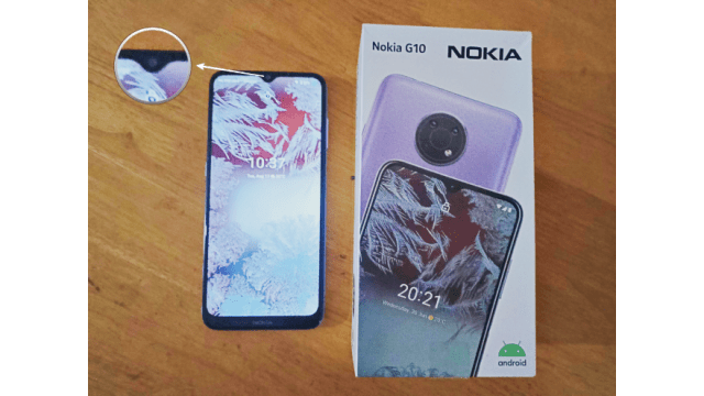 You can find upfront its 6.5″ HD+ LCD with V-notch display, 8MP selfie camera, and the phone speaker above it. It has slim bezels but the chin is slightly thicker with the Nokia branding printed on it. | Skip The Flip