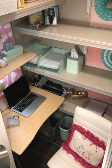 I turned a coat closet into my tiny office hideaway!