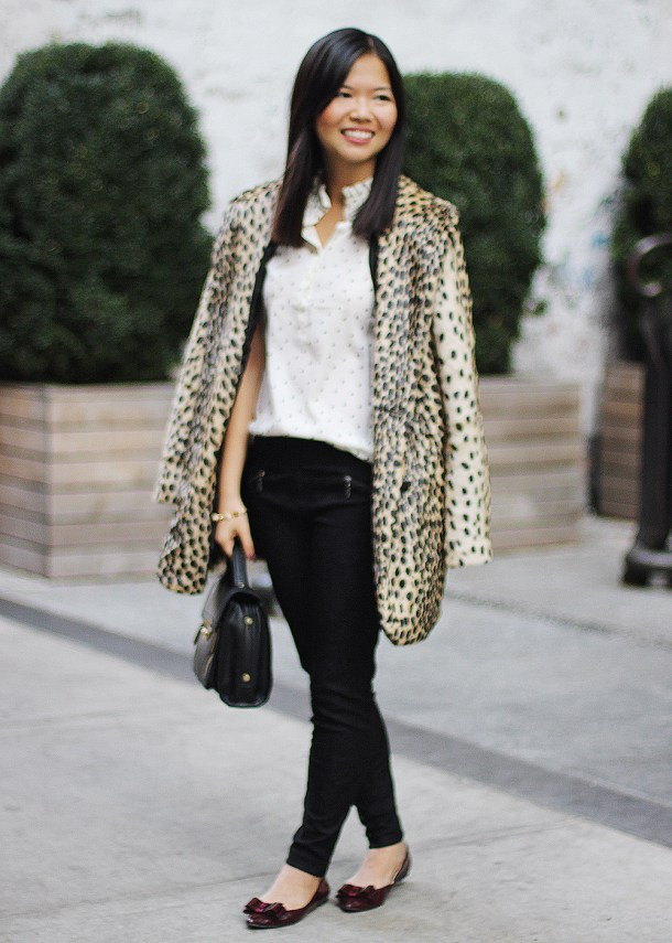 Skirt The Rules Blog; NYC fashion blogger; style blog; how to mix leopard and polka dots; ASOS leopard faux fur coat; J.Crew Factory polka dot Teagan ruffle popover; Promod black lace skinny pants; Michael Kors gold boyfriend watch; Juicy Couture pyramid pave leather bracelet; Gorjana and Griffin alphabet disc bracelet; CC Skye pave cone bracelet; 3.1 Phillip Lim for Target black satchel